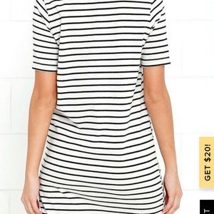 Lulus Black and Ivory striped dress